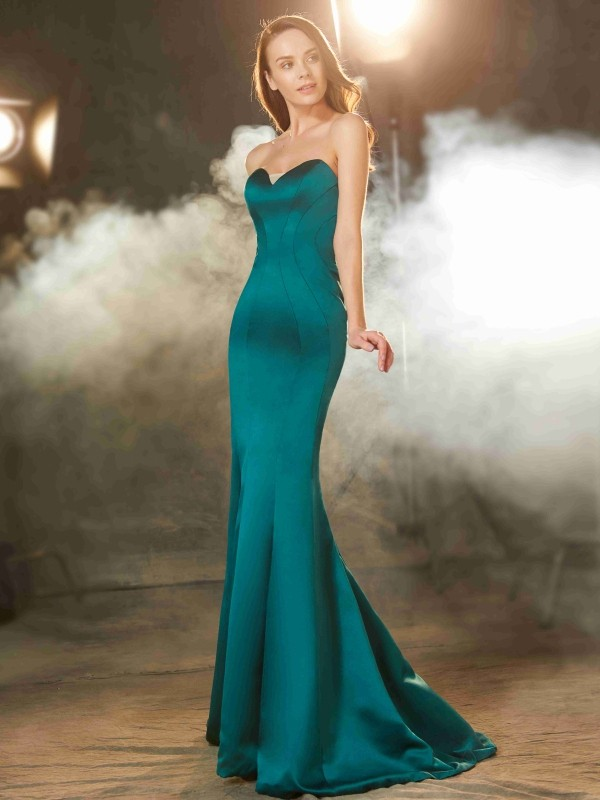 Cheap Mermaid Sweetheart Sleeveless Sweep/Brush Train Satin Dress