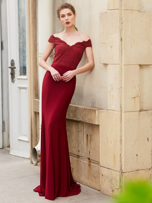 Discount Mermaid Off-the-Shoulder Sleeveless Lace Spandex Sweep/Brush Train Dress