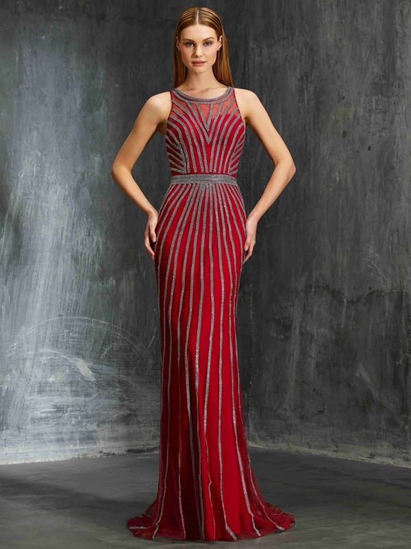 Stunning Sheath Scoop Sleeveless Net Sweep/Brush Train Dress