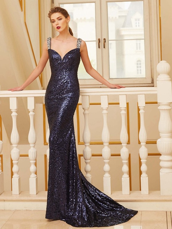 Discount Sheath V-neck Sleeveless Sweep/Brush Train Sequins Dress