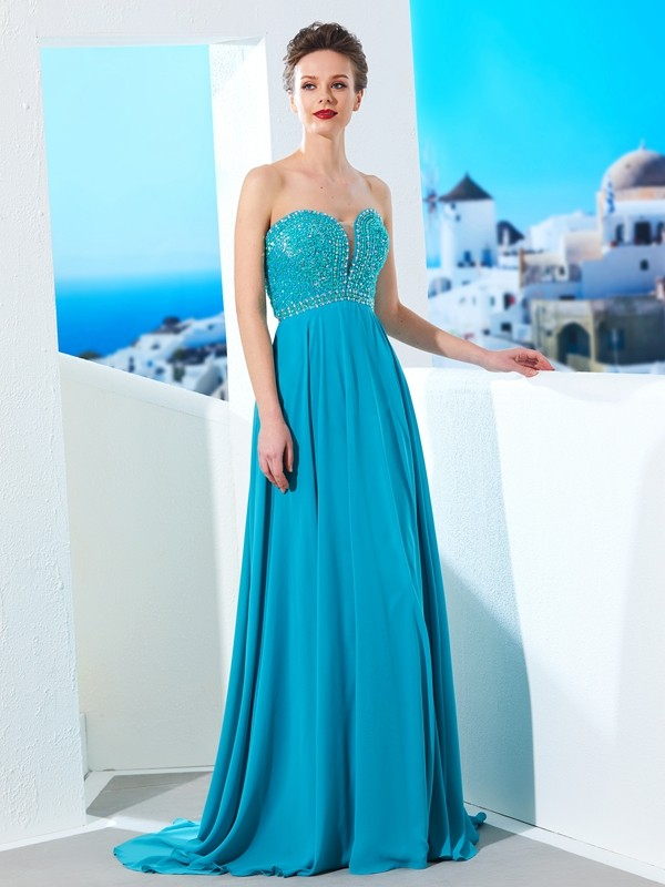 Affordable A-Line Sweetheart Sleeveless Chiffon Sweep/Brush Train Dress