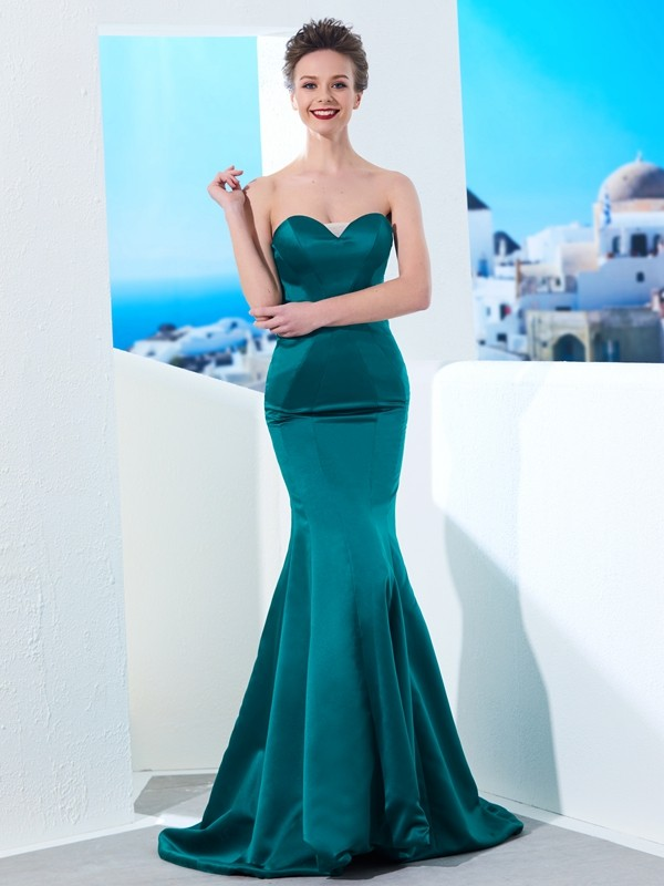 Affordable Mermaid Sweetheart Sleeveless Sweep/Brush Train Satin Dress