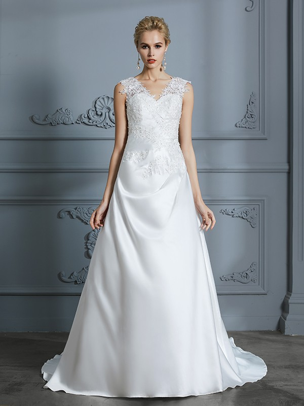 A-Line/Princess V-neck Sweep/Brush Train Sleeveless Applique Satin Wedding Dresses