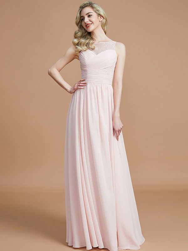 Gorgeous A-Line Bateau Sleeveless Floor-Length Chiffon Bridesmaid Dress