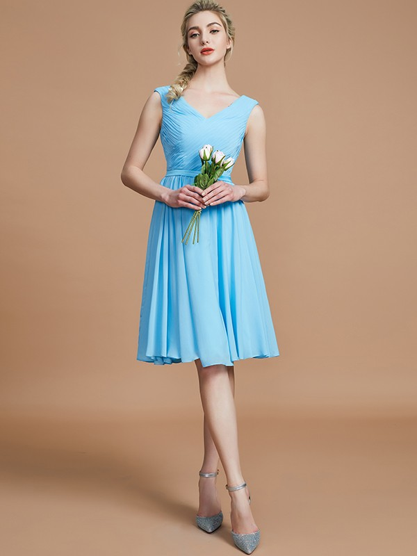 Gorgeous A-Line V-neck Sleeveless Short/Mini Chiffon Bridesmaid Dress