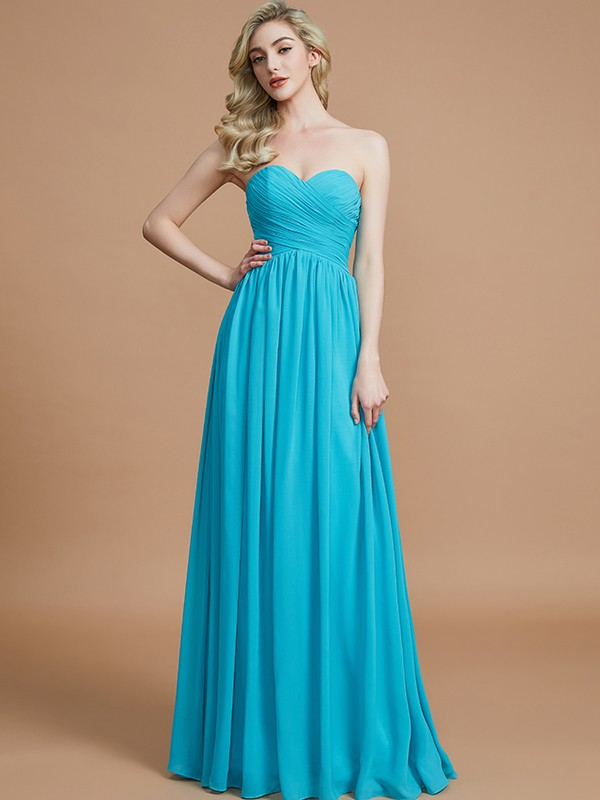 Gorgeous Empire Sweetheart Sleeveless Floor-Length Chiffon Bridesmaid Dress