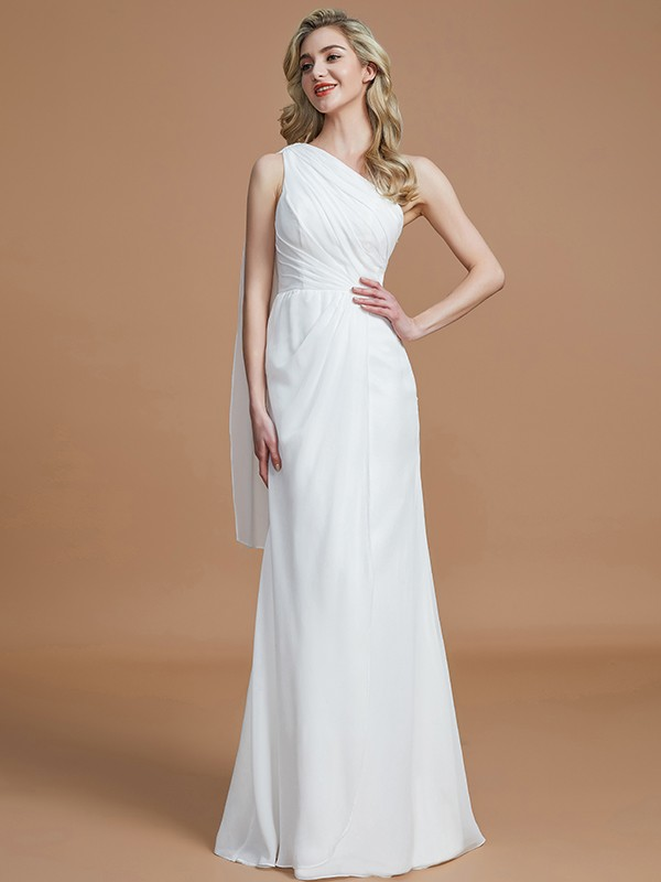 Gorgeous Sheath One-Shoulder Sleeveless Floor-Length Chiffon Bridesmaid Dress