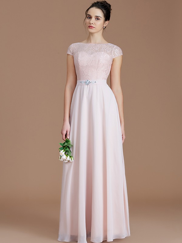 Fancy A-Line Bateau Sleeveless Lace Floor-Length Chiffon Bridesmaid Dress