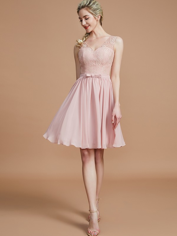 Gorgeous A-Line V-neck Sleeveless Lace Short/Mini Chiffon Bridesmaid Dress