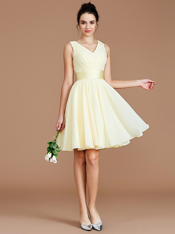 Fancy A-Line V-neck Sleeveless Short/Mini Chiffon Bridesmaid Dress