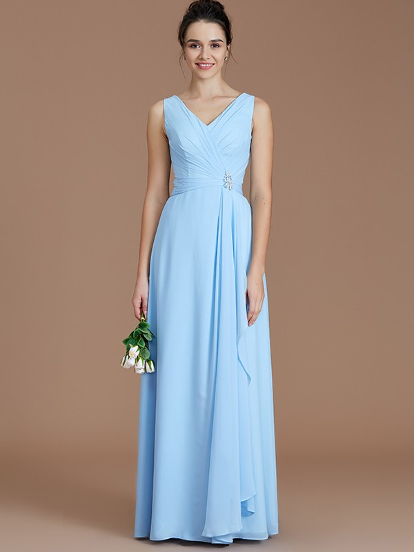 Gorgeous A-Line V-neck Sleeveless Floor-Length Chiffon Bridesmaid Dress