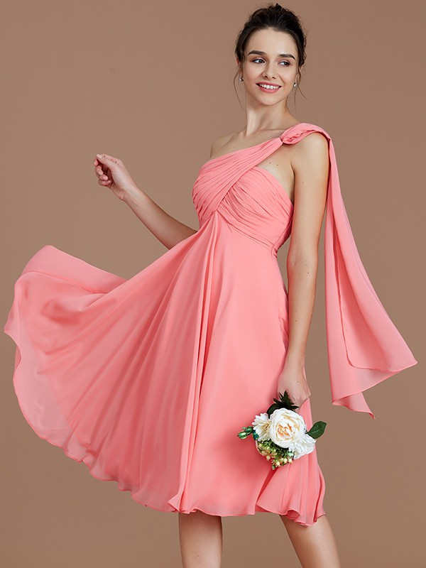 Gorgeous A-Line One-Shoulder Sleeveless Short/Mini Chiffon Bridesmaid Dress