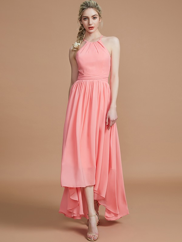 Gorgeous A-Line Halter Asymmetrical Sleeveless Chiffon Bridesmaid Dress