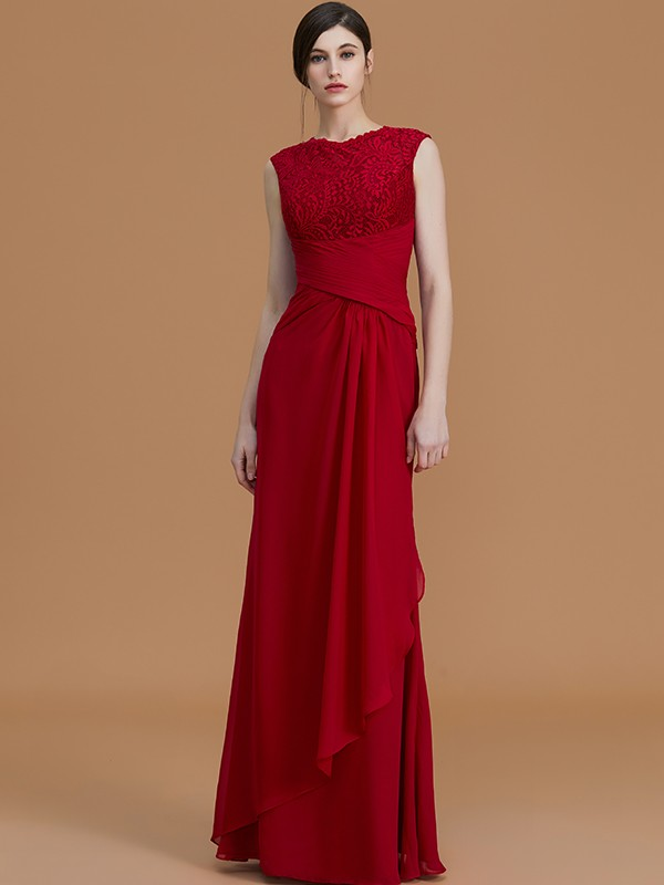 Unique Sheath Jewel Sleeveless Floor-Length Lace Chiffon Bridesmaid Dress
