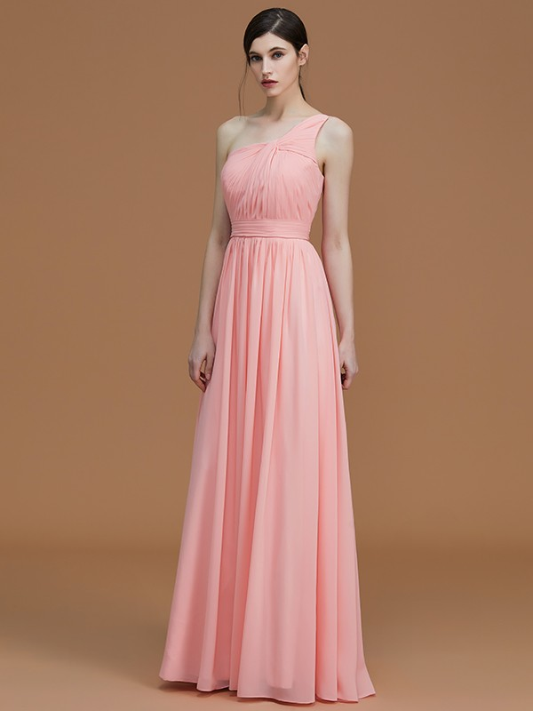 Stunning A-Line One-Shoulder Sleeveless Floor-Length Chiffon Bridesmaid Dress