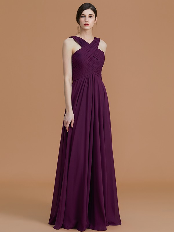 Unique A-Line Halter Sleeveless Floor-Length Chiffon Bridesmaid Dress