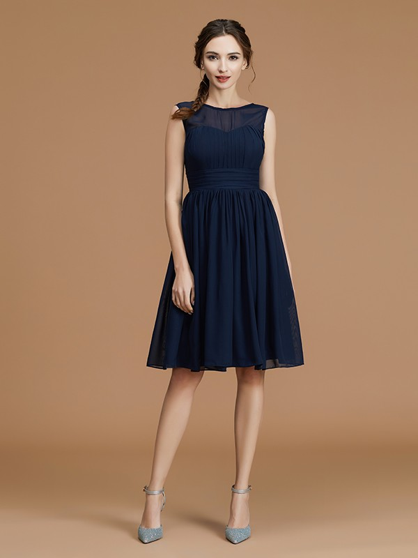 Gorgeous A-Line Bateau Sleeveless Short/Mini Chiffon Bridesmaid Dress