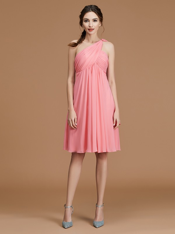 Exquisite A-Line One-Shoulder Sleeveless Short/Mini Chiffon Bridesmaid Dress