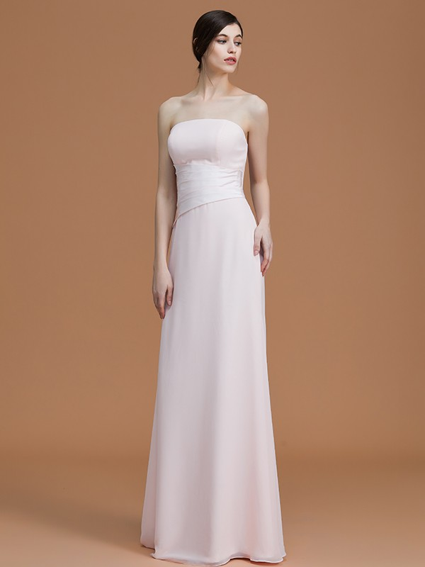 Discount A-Line Strapless Sleeveless Floor-Length Chiffon Bridesmaid Dress
