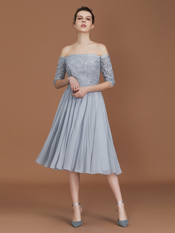 Beautiful A-Line Off-the-Shoulder Short Sleeves Tea-Length Chiffon Bridesmaid Dress