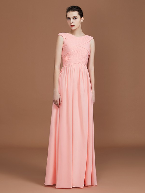 Stunning A-Line V-neck Sleeveless Floor-Length Chiffon Bridesmaid Dress