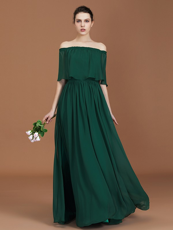 Affordable A-Line Off-the-Shoulder Floor-Length Chiffon Bridesmaid Dress