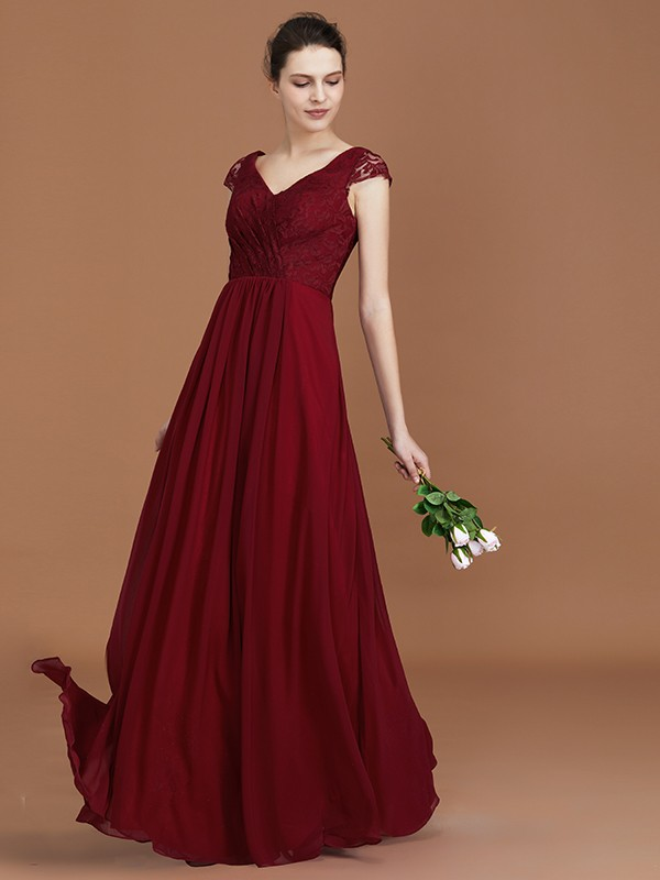 Stylish A-Line Lace Short Sleeves Chiffon V-neck Floor-Length Bridesmaid Dress