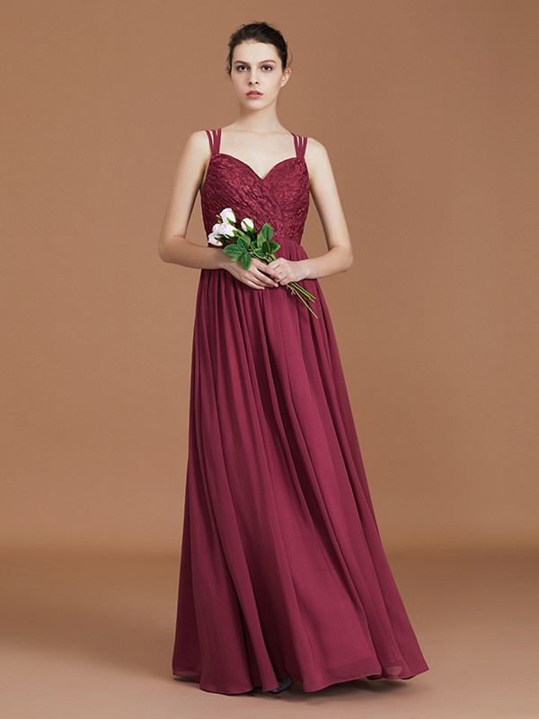 Charming A-Line Lace Sweetheart Chiffon Floor-Length Bridesmaid Dress