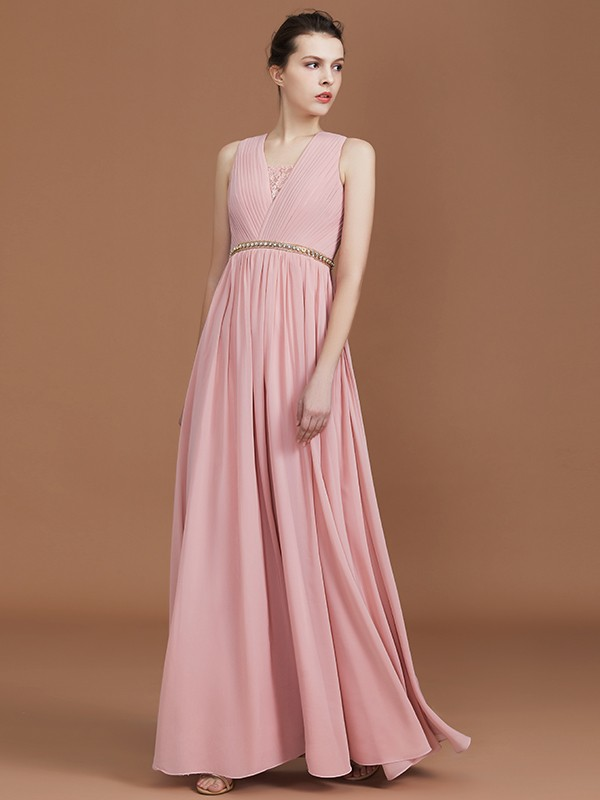 Amazing A-Line Lace Sleeveless Floor-Length Chiffon V-neck Bridesmaid Dress
