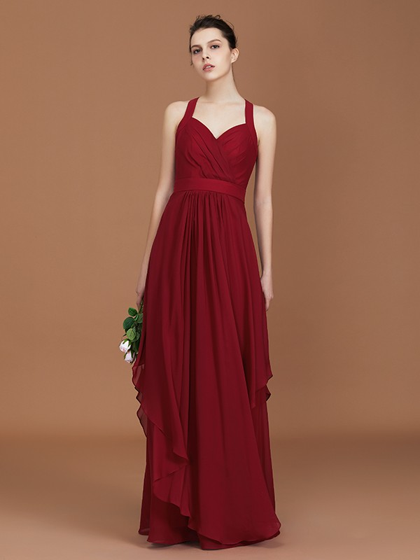 Fashion A-Line Straps Chiffon Floor-Length Sleeveless Bridesmaid Dress