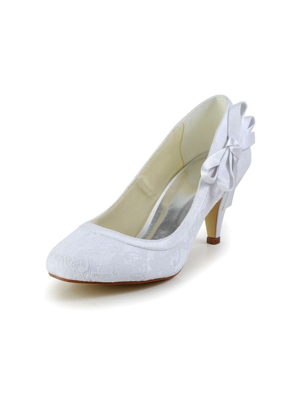 Exquisite Women Satin Closed Toe Cone Heel White Wedding Shoes