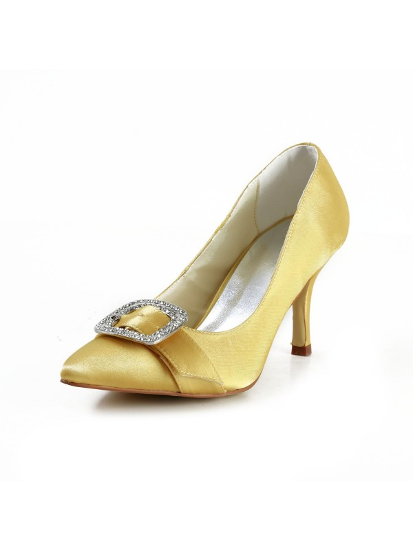 Exquisite Women Satin Stiletto Heel Closed Toe Gold Wedding Shoes