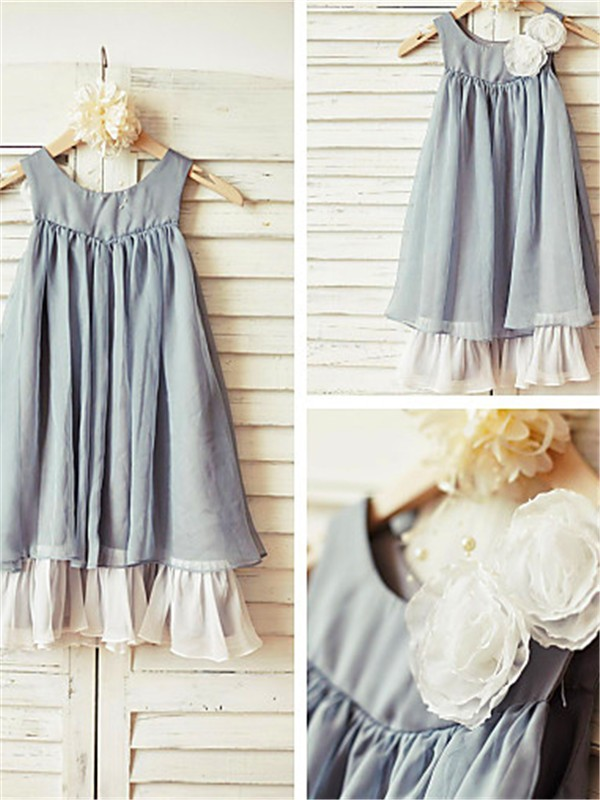 Charming A-line Scoop Sleeveless Tea-length Chiffon Flower Girl Dress
