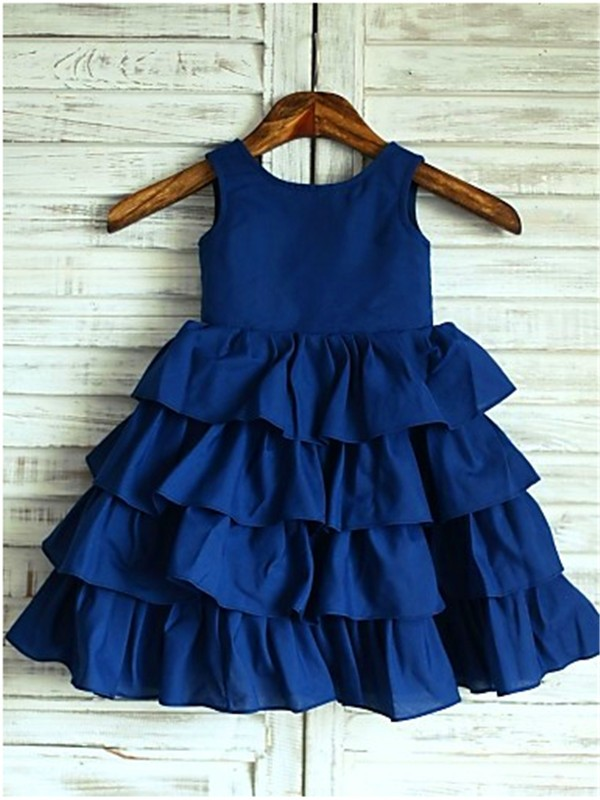 Glamorous A-line Sleeveless Scoop Layers Tea-Length Chiffon Flower Girl Dress