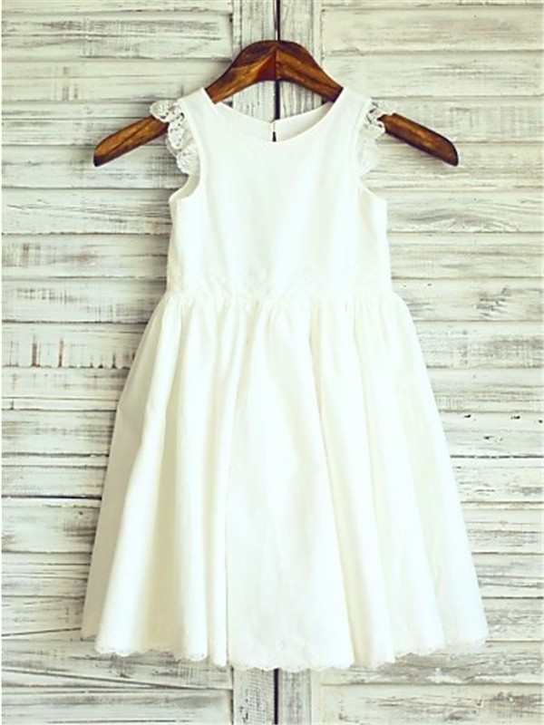 Charming A-line Scoop Sleeveless Lace Tea-Length Chiffon Flower Girl Dress