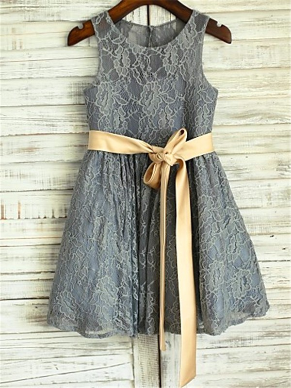 Amazing A-line Scoop Sleeveless Tea-length Lace Flower Girl Dress