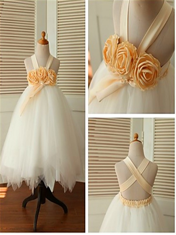 Perfect Ball Gown Sleeveless Straps Tea-Length Tulle Flower Girl Dress