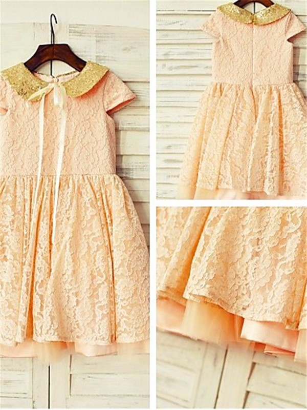 Exquisite A-line Short Sleeves Scoop Tea-Length Lace Flower Girl Dress