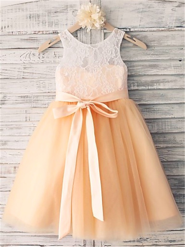 Affordable A-line Sleeveless Scoop Tea-length Tulle Flower Girl Dress