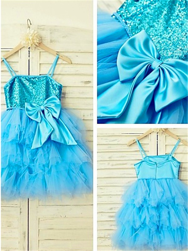 Nice A-line Spaghetti Straps Sleeveless Tea-Length Net Flower Girl Dress