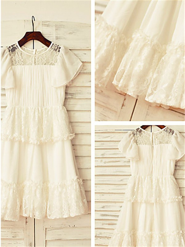 Discount A-line Scoop Short Sleeves Lace Tea-length Chiffon Flower Girl Dress
