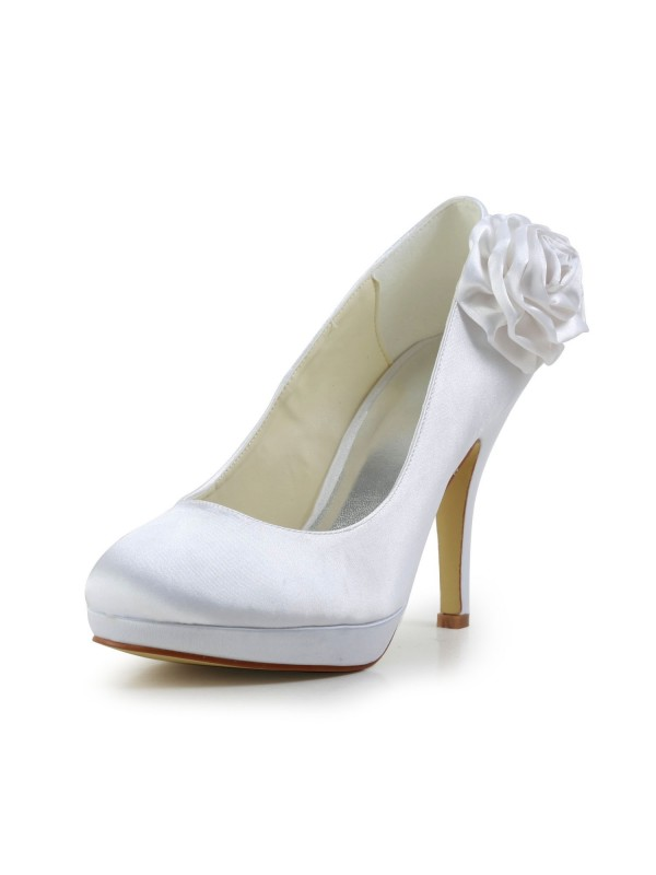 Exquisite Women Satin Stiletto Heel Pumps Flower White Wedding Shoes