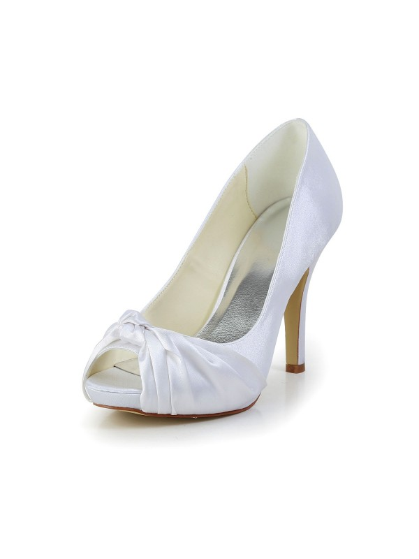 Exquisite Women Satin Stiletto Heel Peep Toe White Wedding Shoes