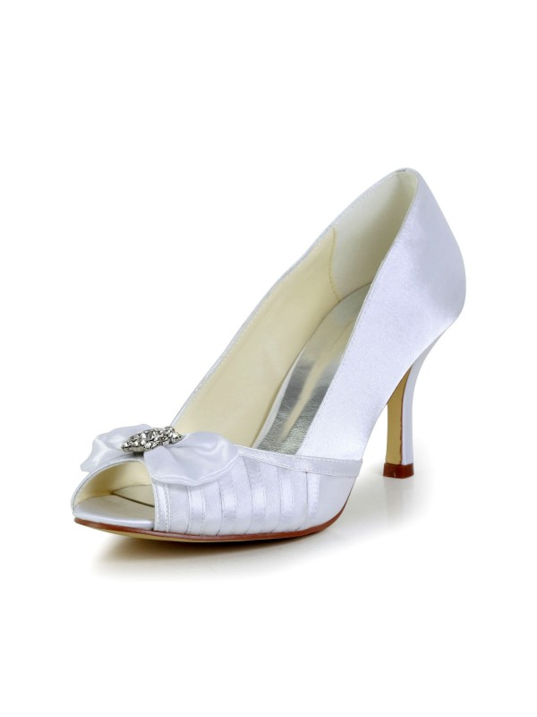 Exquisite Women Graceful Stiletto Heel Satin White Wedding Shoes