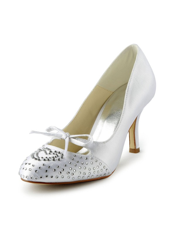 Exquisite Women Satin Stiletto Heel Closed Toe White Wedding Shoes