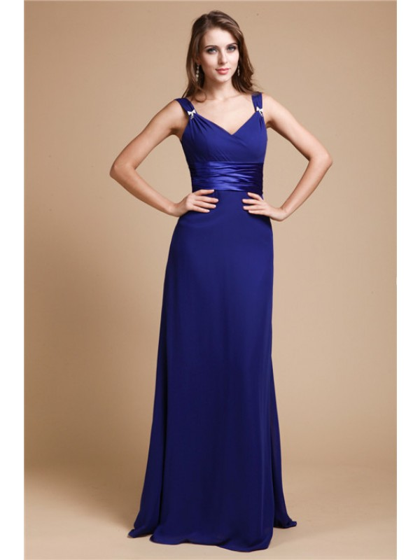 Stylish Sheath V-neck Sleeveless Long Chiffon Bridesmaid Dress