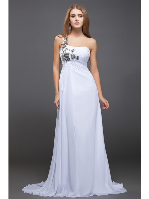 Hot Sale A-Line One-Shoulder Sequin Lace Sleeveless Long Chiffon Dress