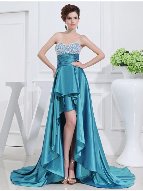 Hot Sale A-Line Sweetheart High Low Sleeveless Taffeta Dress