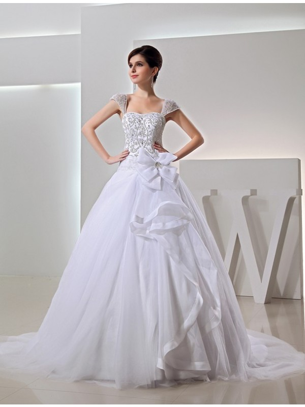 Modest Long Ball Gown Organza Wedding Dress