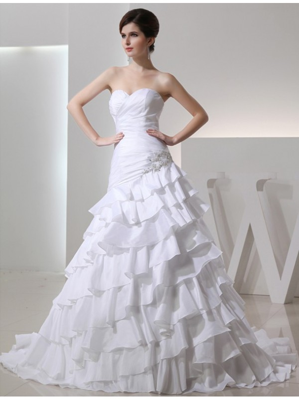 Modest A-Line Sweetheart Sleeveless Long Taffeta Wedding Dress